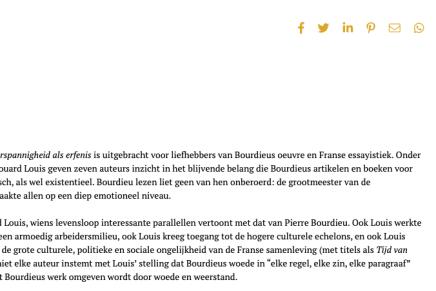 Pierre Bourdieu, Weerspannigheid als Erfenis, Edouard Louis, door Leonard van 't Hul, De Leesclub van Alles, 6 augustus, 2019