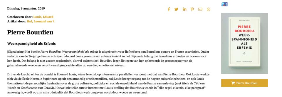 pierre bourdieu edouard louis, leonard van t' hul