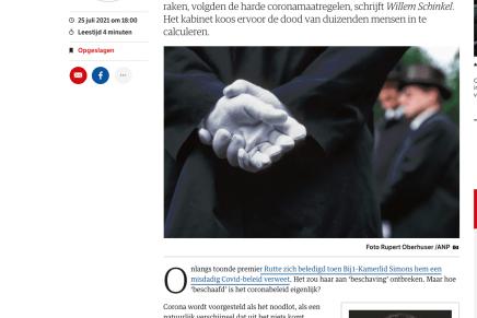 Het Nederlandse coronabeleid is een vorm van necropolitiek, Willem Schinkel, NRC, 25 juli 2021