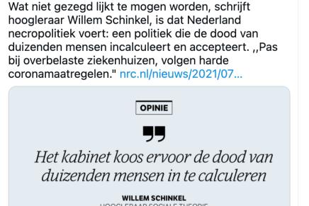 Het Nederlandse coronabeleid is een vorm van necropolitiek, Willem Schinkel, NRC Opinie