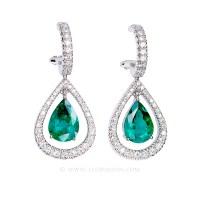Colombian Emerald Earrings, Pear Shape Emeralds set in 18k ...