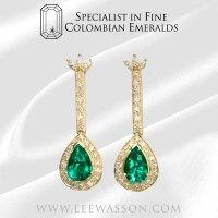 Colombian Emerald Earrings, Pear Shaped Emerald Earrings ...