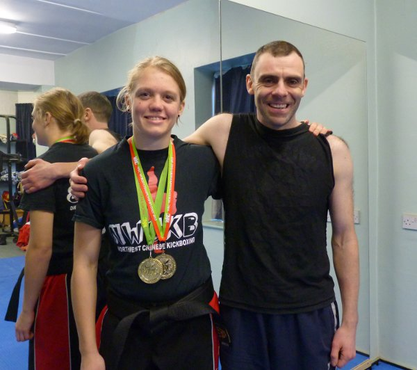 Lee with Laura Wylde, 2 time World Kickboxing Champion