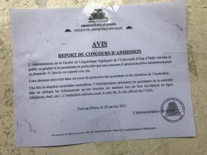 """Haïti-Éducation : Report """"sine die"""" du concours d'admission de la Faculté de Linguistique Appliquée (FLA)"""