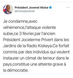 Haïti-Attaque contre Privert : Jovenel Moïse condamne et dénonce l'instauration d'un climat de terreur dans le pays