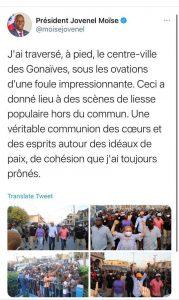 Haïti-Politique : Jovenel Moïse foule le sol gonaïvien