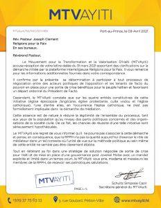 """Haïti-Crise : Le parti MTVAyiti boude l'appel au dialogue lancé par """"Religion Pour la Paix"""""""