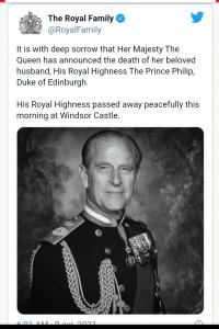 Angleterre-Nécrologie : Prince Philip, époux de la reine Elizabeth II s'éteint à 99ans