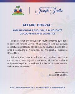 Haïti-Affaire Monferrier Dorval : Joseph Jouthe lance un appel du pied au juge Renord Régis
