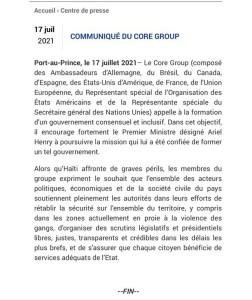Haïti-Politique: Le Core Groupe appelle à la formation d'un gouvernement