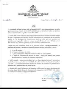 Coronavirus : 2 nouveaux variants détectés en Haïti, alerte le ministère de la santé publique