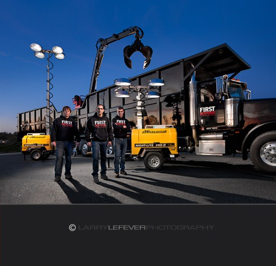 Team plus Grapple Truck and Light Towers