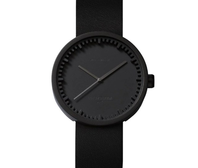 D42 Black Case Black Leather Strap Tube Watch Leff Amsterdam Design By Piet Hein Eek Front