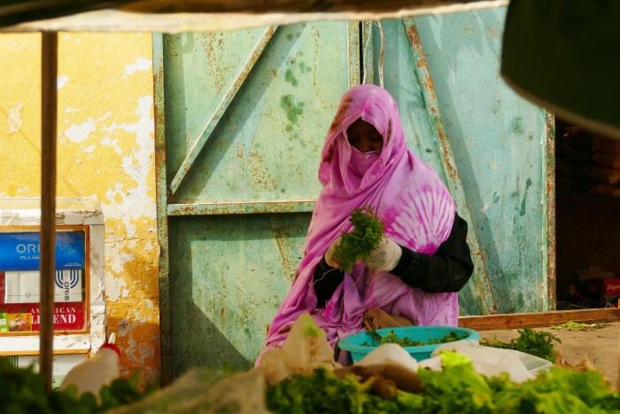 Le rose est la couleur la plus portée par les femmes mauritaniennes. Une couleur éclatante qui se décline en beaucoup de tissus différents. Le 19 Décembre 2019 à Nouadhibou. Crédit : Lison Bourgeois. Retouche : Marie Solvignon.