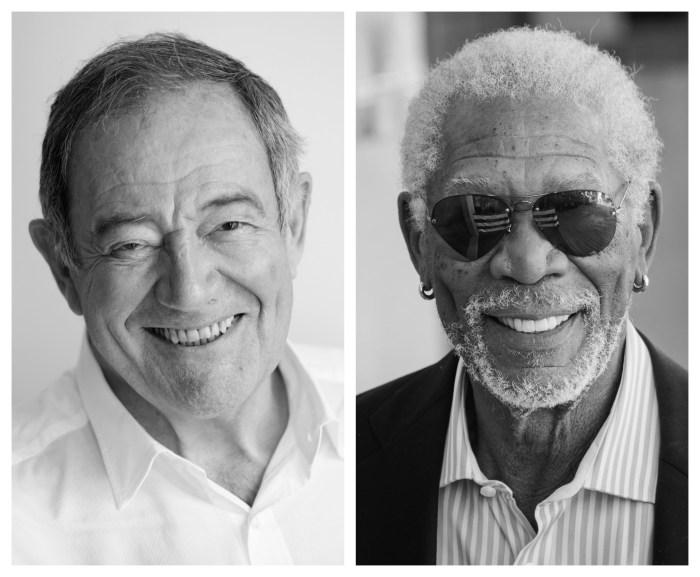 Benoît Allemane (à gauche) est la voix française de Morgan Freeman (à droite) dans plus de 44 films. Photos : Gaël rebel et WireImage