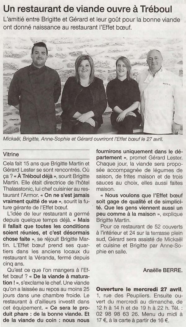 Ouest France parle de L'Effet Boeuf