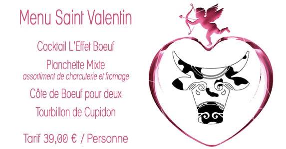Le menu Saint Valentin du restaurant L'effet Boeuf à Douarnenez