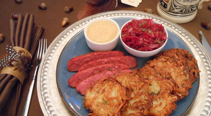 Gluten-Free & Egg-Free Potato Pancake (aka- Kartoffelpuffer, Latke, Hash Brown Cakes, etc.) Vegan Recipe with Baked & Fried Versions for Oktoberfest