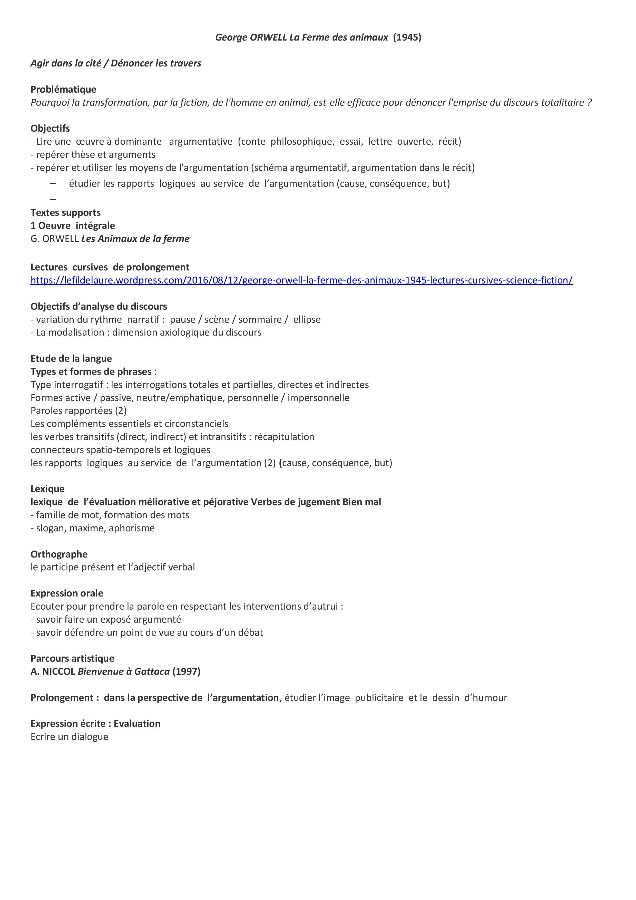 La Ferme Des Animaux Analyse 3eme : ferme, animaux, analyse, Dénoncer, Travers, Société, ORWELL, Ferme, Animaux, (1945), Progression, Séquence, 2015-2016, LAURE