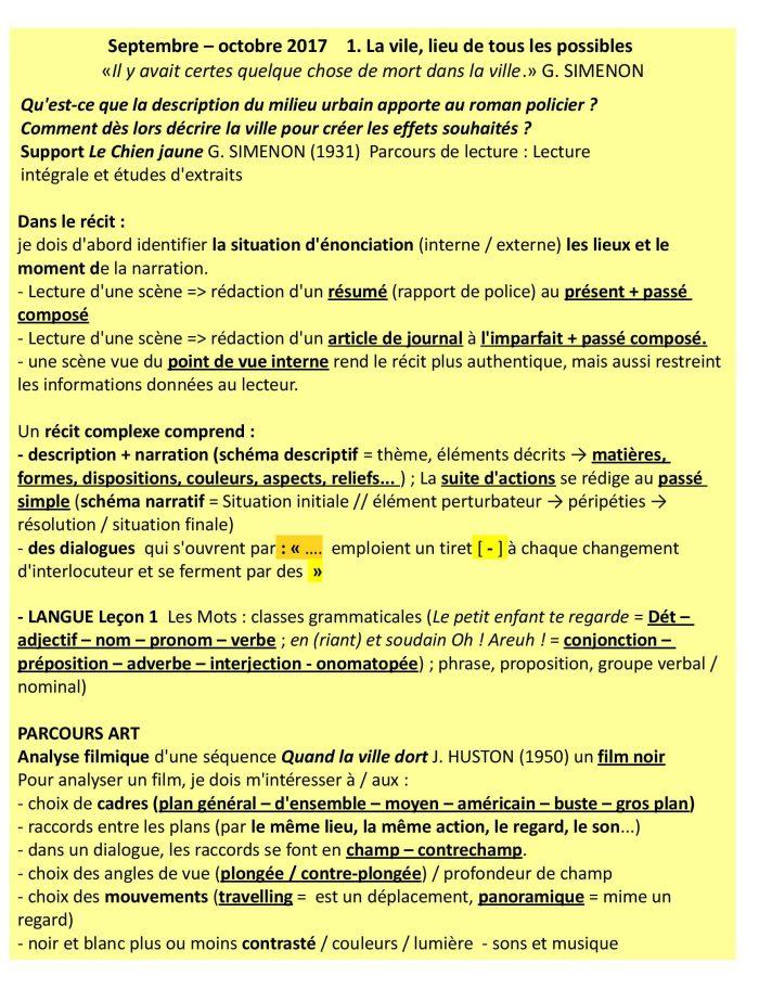 Points De Vue Narratifs 4ème : points, narratifs, 4ème, RETENIR, Séquence, Ville, SIMENON, Chien, Jaune, (1931), LAURE