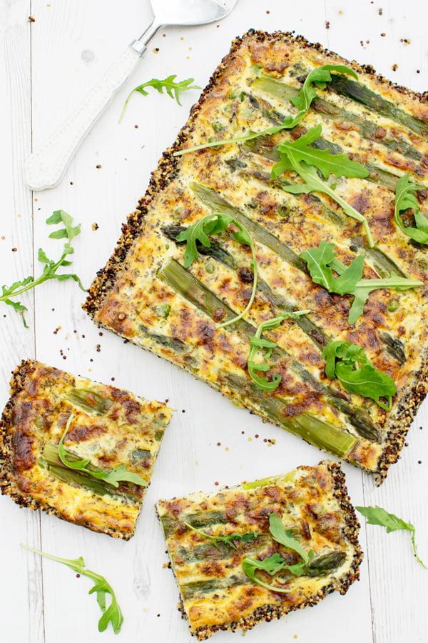 Quiche de quinoa aux asperges et petits pois [végétarien] [sans gluten] par Annabelle Randles Le Flexitarien