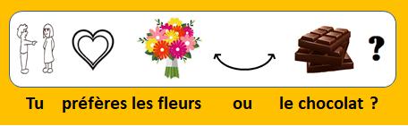 Tu préfères les fleurs ou le chocolat ?