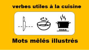 Mots mêlés illustrés - Verbes utiles à la cuisine