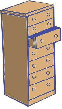 un semainier est un meuble avec sept tiroirs