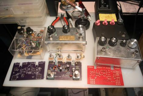 // Pedal prototypes from left to right, oldest to newest, the first one on the left broke mid-show when the casing caved in.