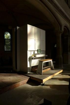 A piano in a church