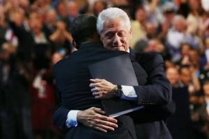 Clinton and Obama hug - DNC