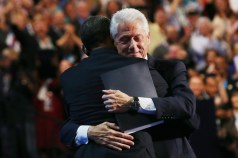 Clinton and Obama hug - DNC
