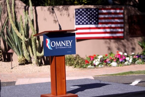 Mitt Romney podium - photo by Gage Skidmore