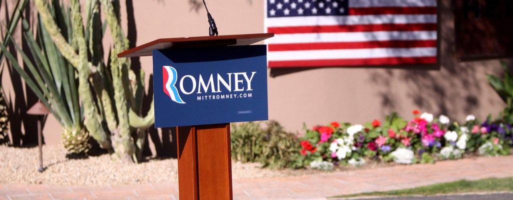 Mitt Romney podium - photo by Gage Skidmore