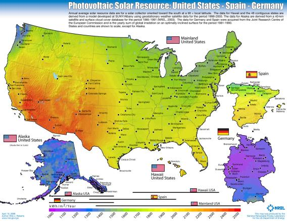 Photovoltaic Solar Resource: United States, Germany -  Illustration courtesy of the National Renewable Energy Laboratory