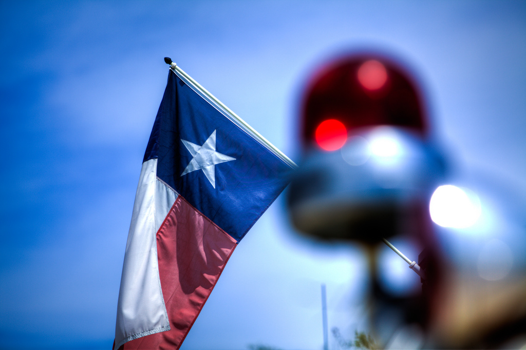 Texas Flag Behind Fire Engine - photo by Bill Ledbetter