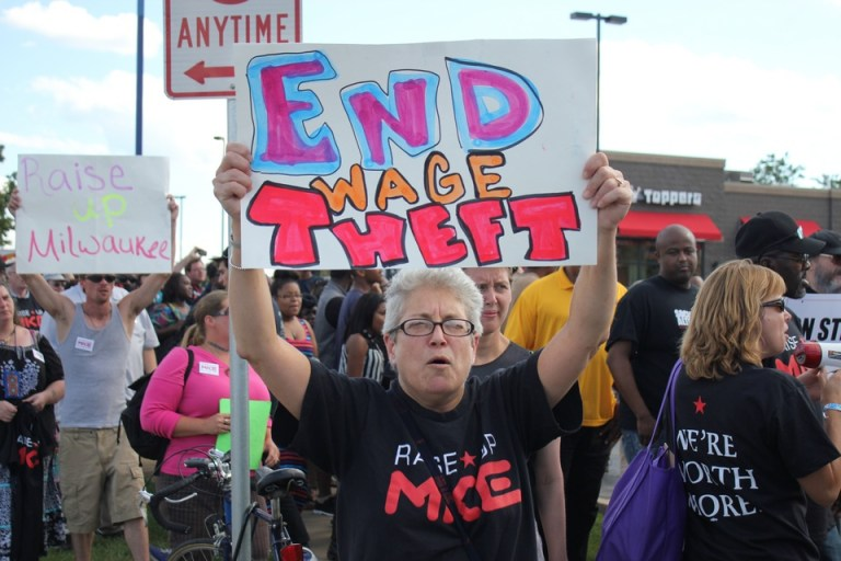 end-wage-theft-fast-food-strike - photo by Wisconsin Jobs Now