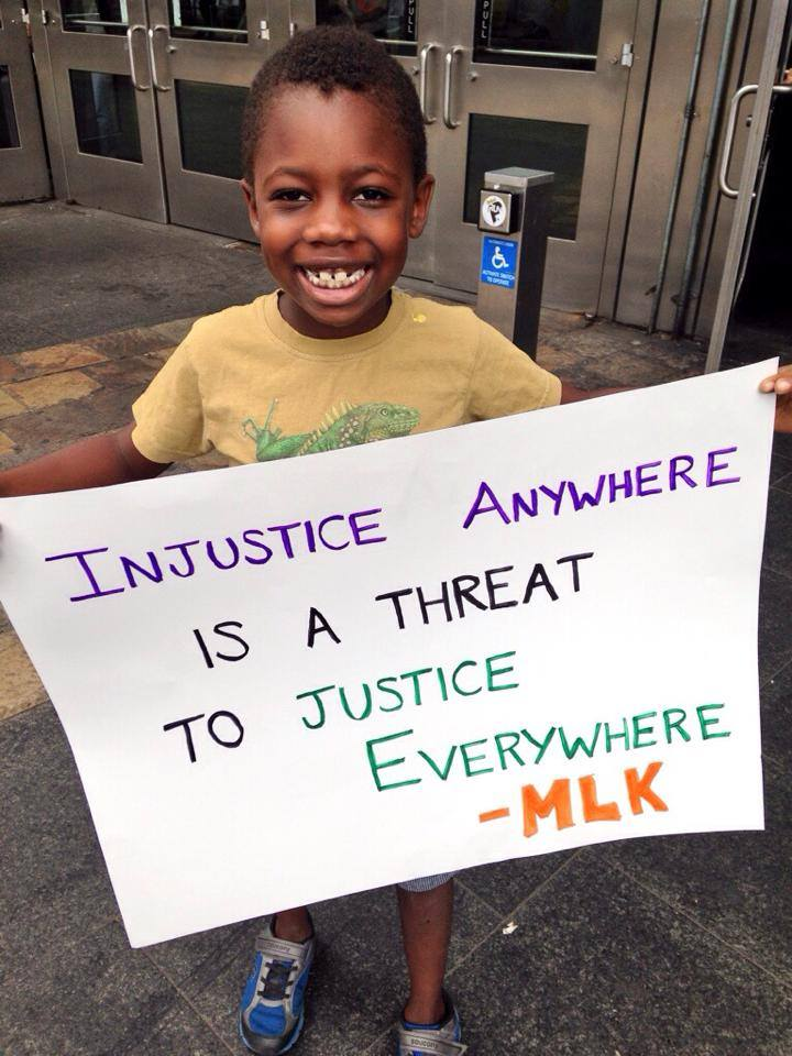 """Our smallest marcher at the Justice for Eric Garner march in Staten Island, New York."" - New York Civil Liberties Union (NYCLU)"