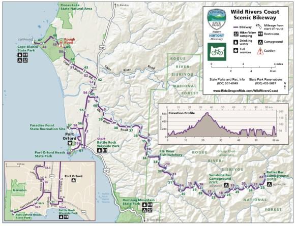 Wild Rivers Coast Scenic Bikeway Map