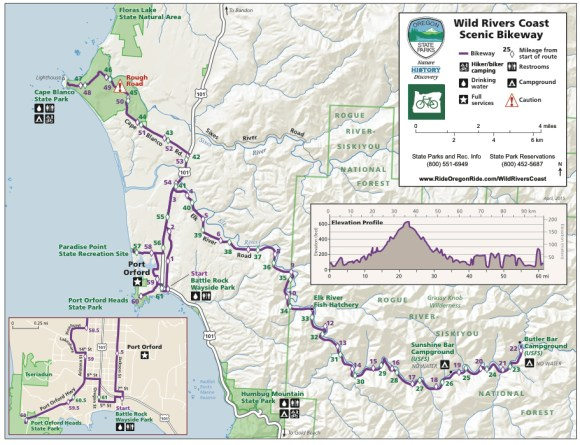 Wild Rivers Coast Scenic Bikeway Map