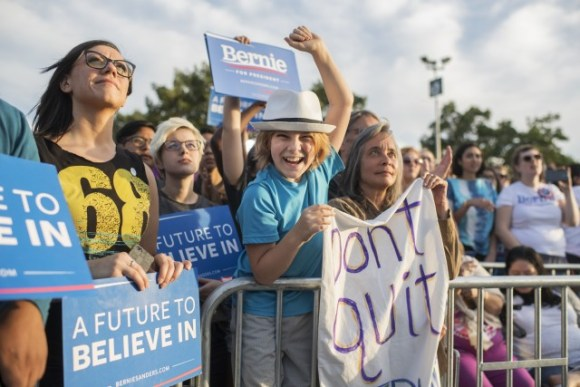 Supporters of Democratic presidential candidate Senator Bernie Sanders cheer at a rally in Washington, D.C., on June 9, 2016.