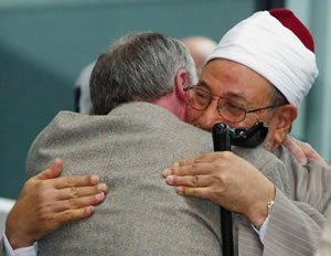Embrace with an extremist: Ken Livingstone once again prasied Islamist bigot Yusuf al-Qaradawi