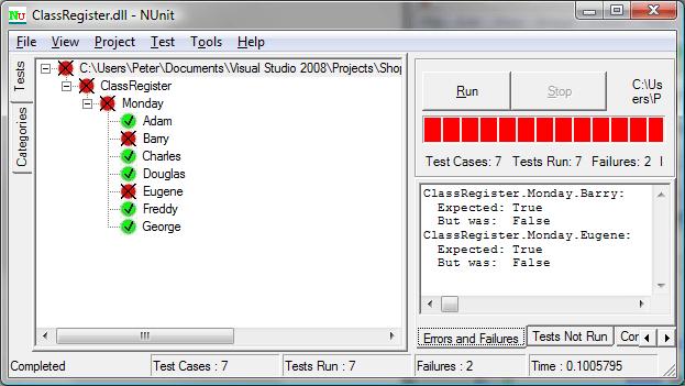 NUnit test for a class register