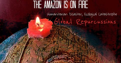 Image of Brasil with a candles on it. With the bold words the Amazon is on fire.