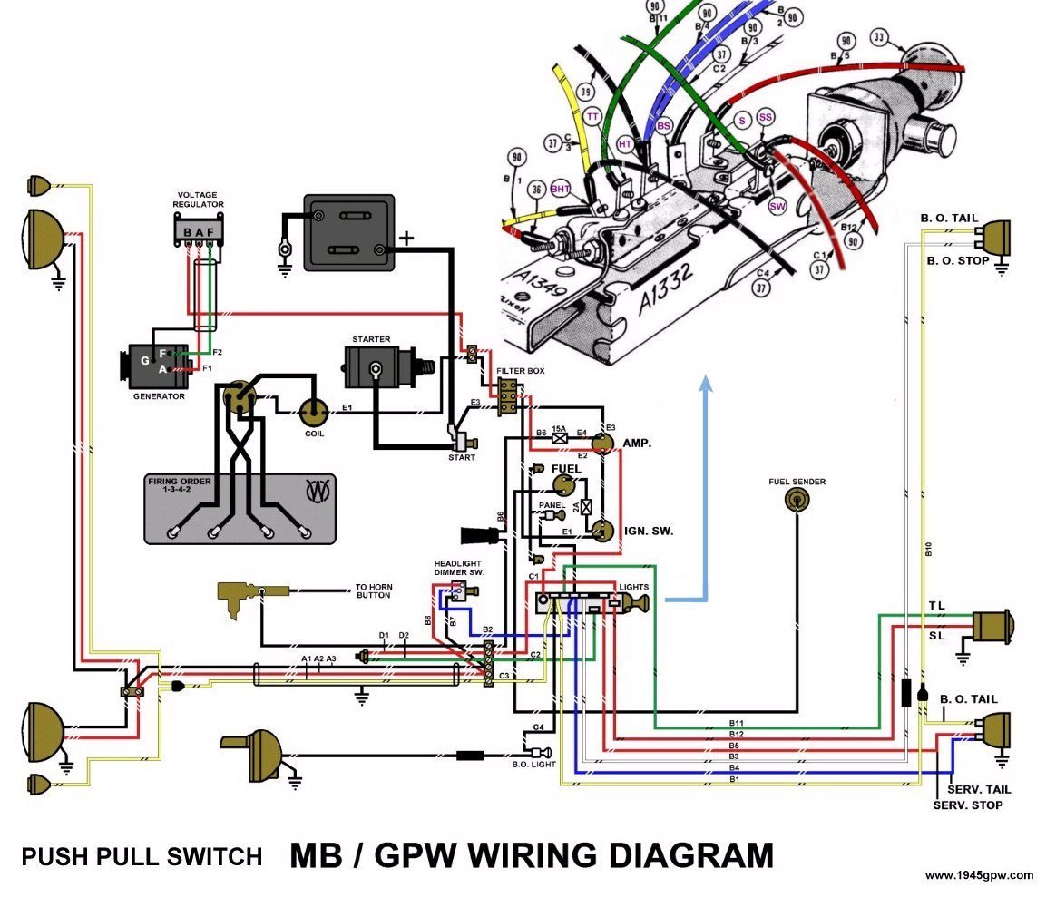 2 position push pull light switch wiring diagram xrm 110 g503 wwii willys and ford mid late 1944 jeep