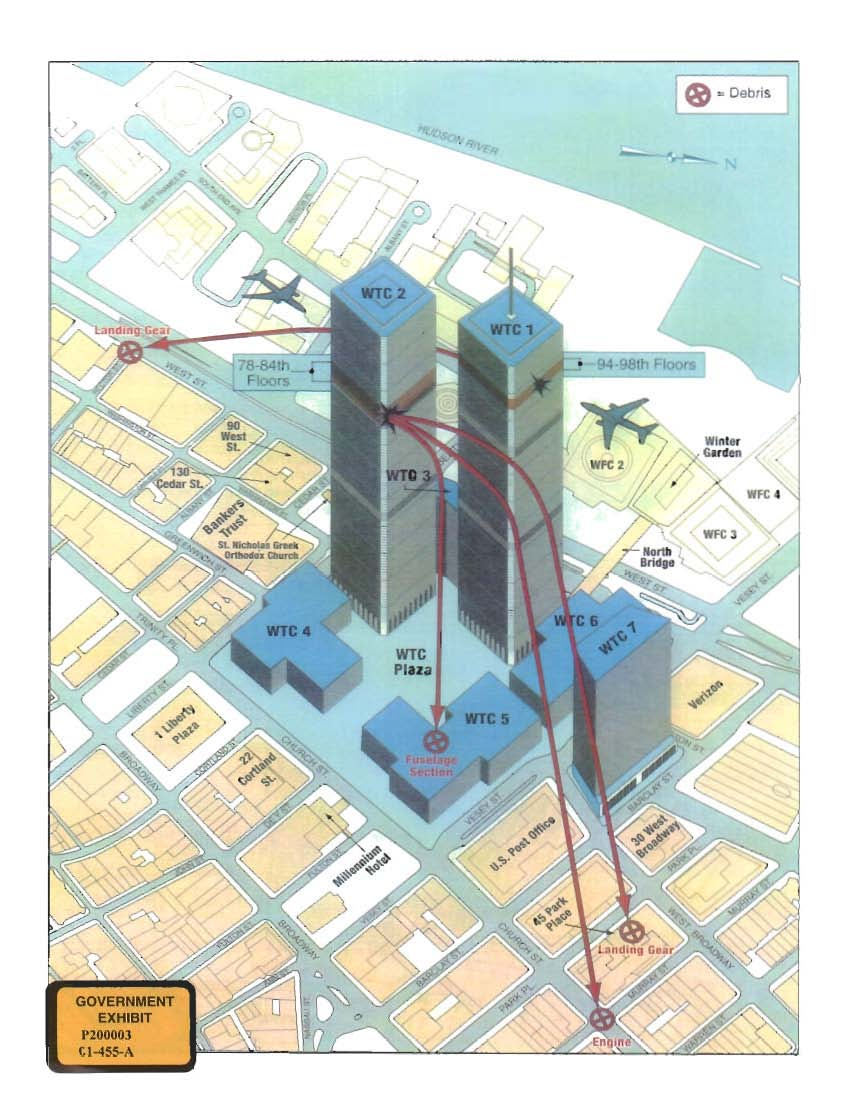 hight resolution of  map of the world trade center area depicting the paths of flights 11 and 175