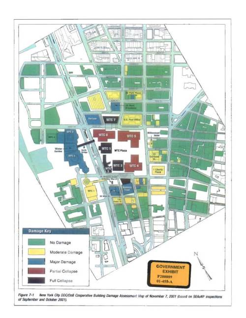 small resolution of  world trade center diagram depicting the damage to the buildings in the world trade center area as a result of the attacks on september 11