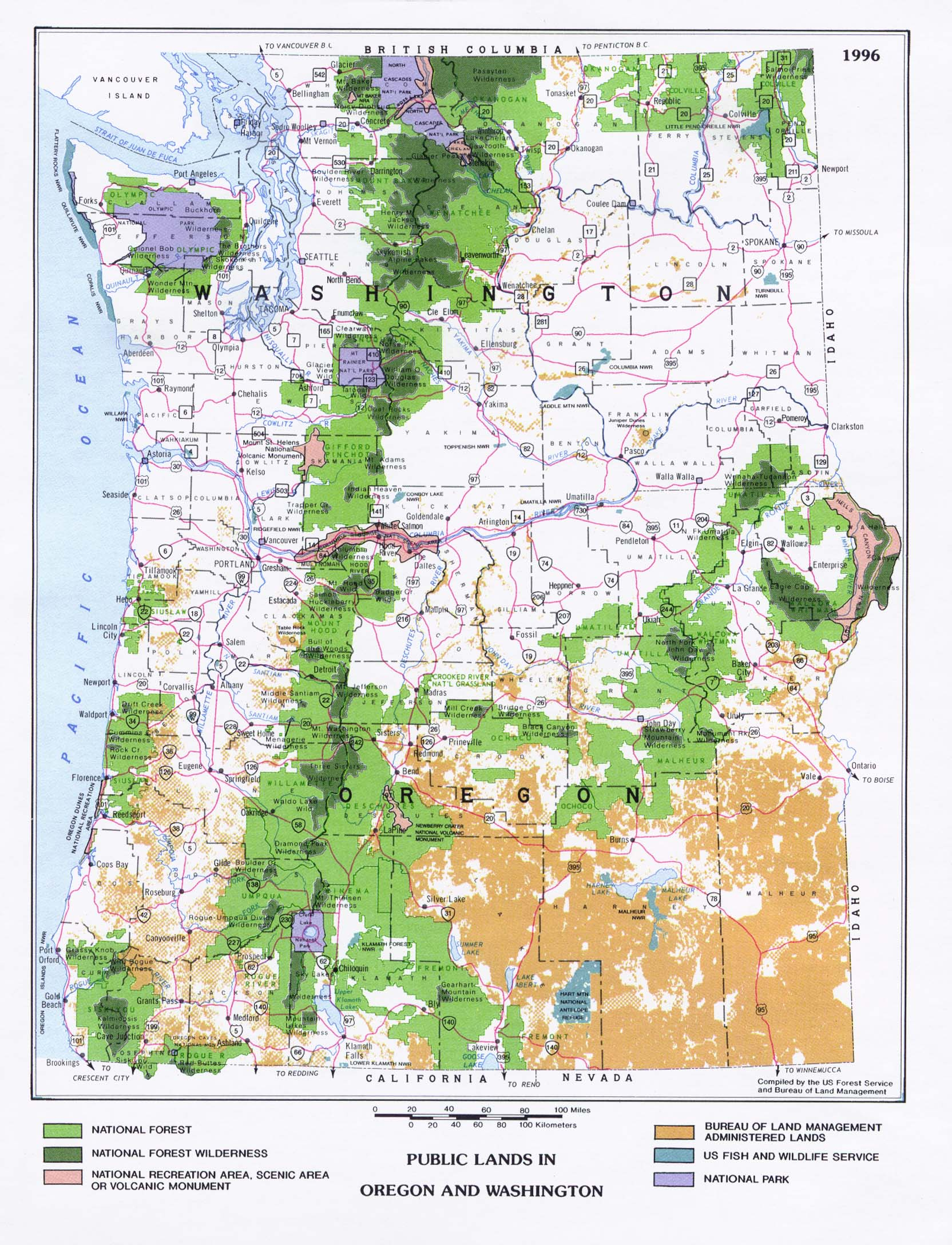 Washington Oregon Maps : washington, oregon, Washington, Perry-Castañeda, Collection, Library, Online
