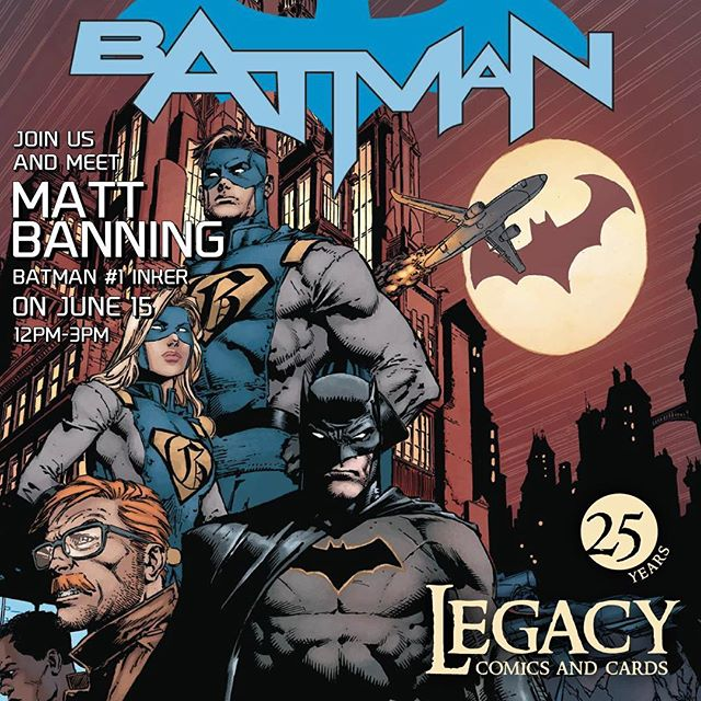 "Come by June 15th and meet inker Matt ""Batt"" Banning for a free signing of the release of the new #dcrebirth #batman #1 from 12-3pm"