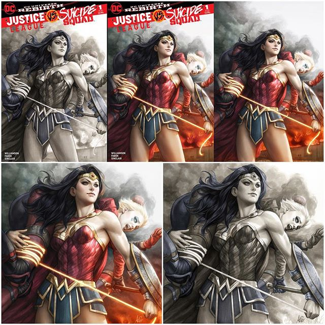 Our exclusive #legacyedition variant exclusive Justice League vs Suicide Squad #1 by #artgerm is available now @ www.legacycomics.com #justiceleague #suicidesquad #wonderwoman #harleyquinn #dccomics #leaguevsquad